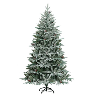 9ft Pre-Lit Snow Flocked Artificial Christmas Pine Tree Warm White Lights