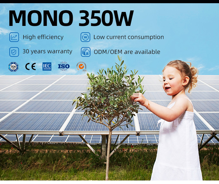 Stable quality 72 cell solar panel black mono 350W solar panels is 350W panel solar with inventory