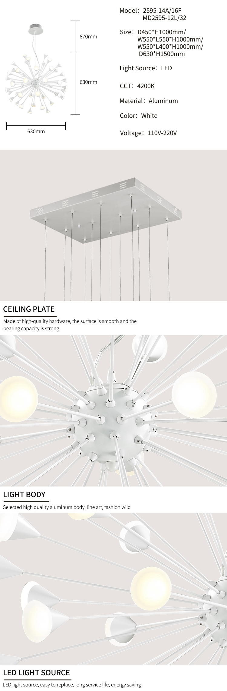 Round Led Globe Antique White Contemporary LED Chandelier Pendant Lamp