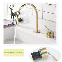 European two-Hole Basin Faucet Copper Bathroom Cabinet Split Faucet two-Piece Paint brush gold Faucet Durable