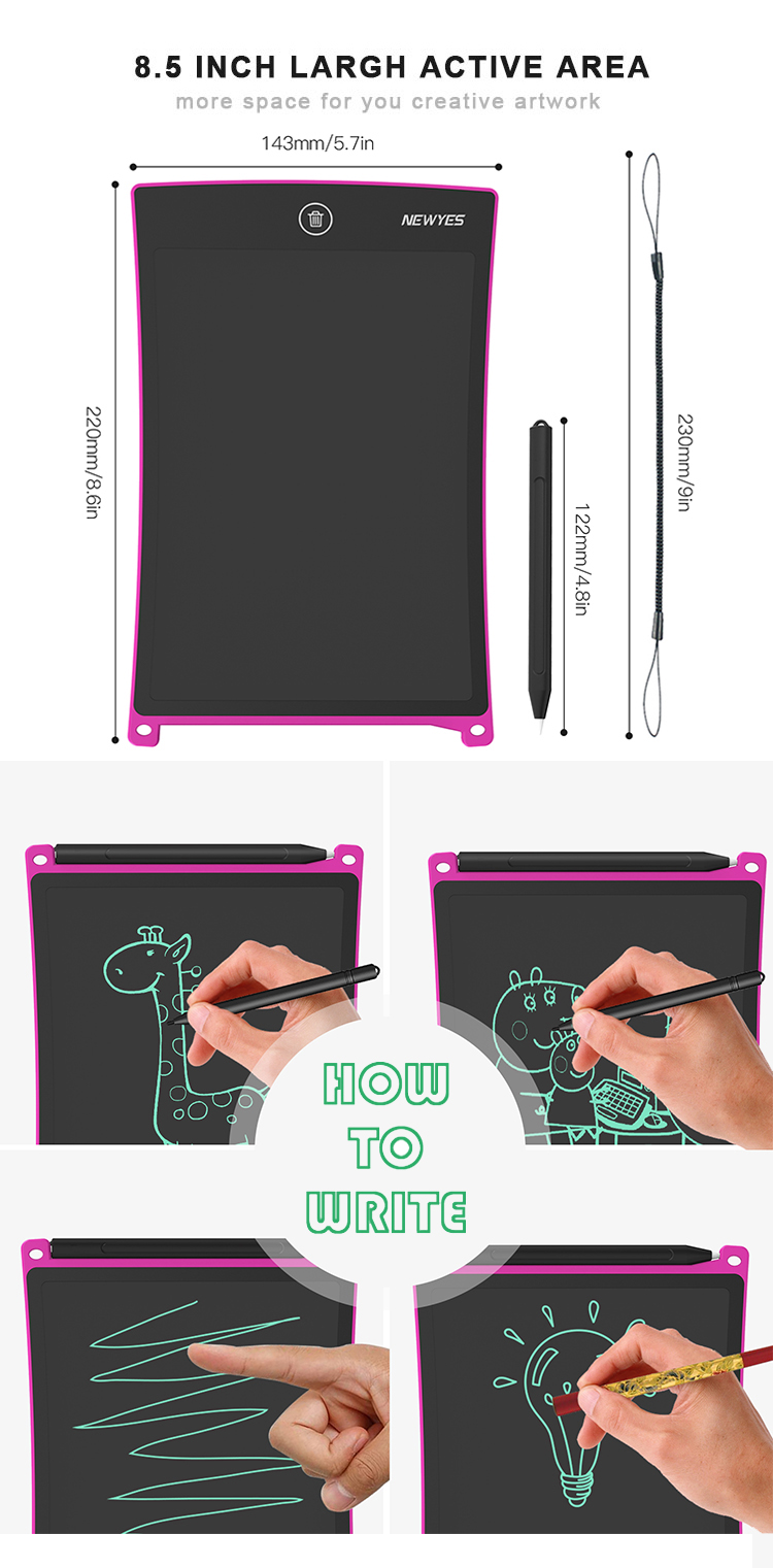 Newyes Free Shipping 8.5 Inch Educational Tablette Handwriting Lcd Drawing Tablet