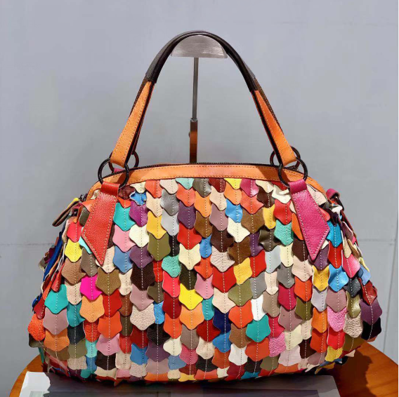 Women <strong>Genuine</strong> <strong>Leather</strong> <strong>Hobo</strong> <strong>Bag</strong> Multicolour Patchwork Shoulder <strong>Bag</strong> 3D Leaf Stripe Colorful Tassel Handbag Purses