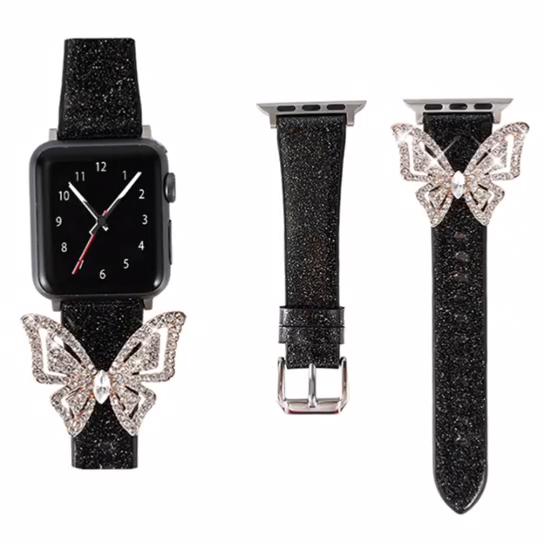 חדש עיצוב בלינג פרפר אמיתי להקת שעון עור עבור אפל שעון 42mm 38mm 40mm 44mm עור רצועה