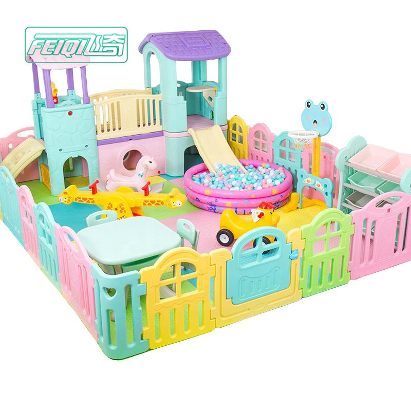Hoge Kwaliteit Kinderen Pretpark Kleuterschool Kids Playhouse Indoor Speeltoestellen Plastic Speelhuis Met Glijbaan Speelgoed