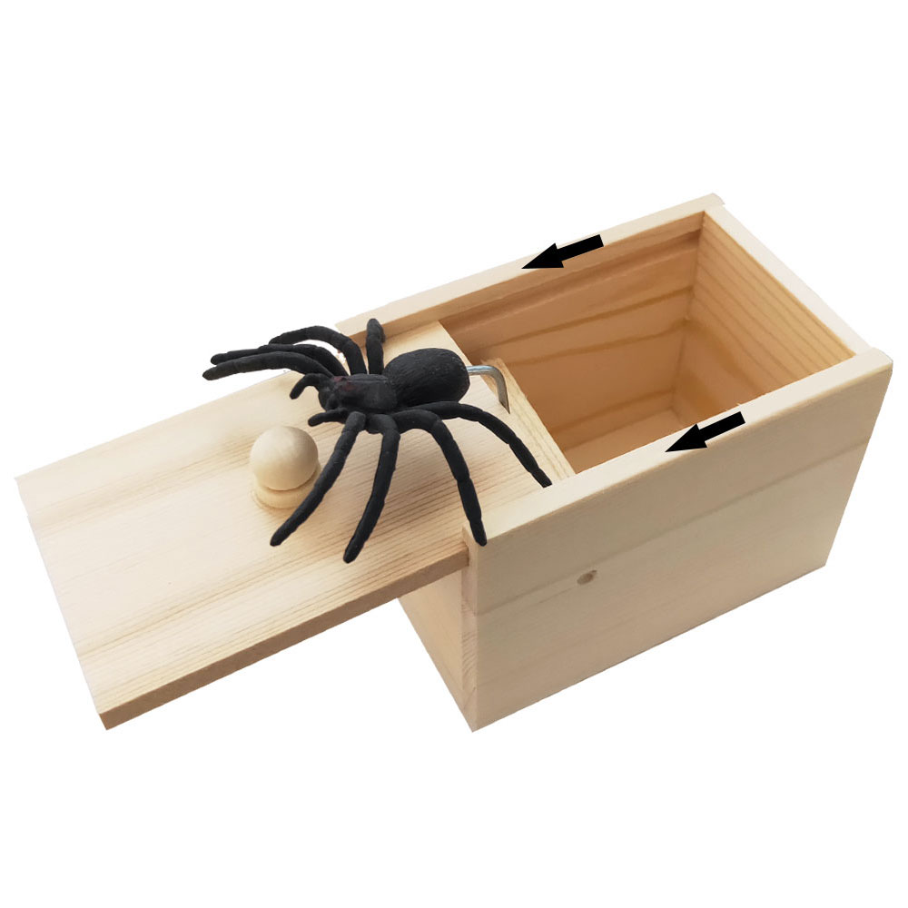Original Spider Scare Prank Box Hilarious Wooden Scare Box Handmade Fun Joke Scarebox Toy Practical Gift Toy Spider Box Prankoy