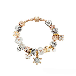 New Fashion Gold Tone Heart Bead Pan Bracelets & Bangles Fashion Crystal Charm Bracelets DIY Jewelry For Women Bracelet Beads