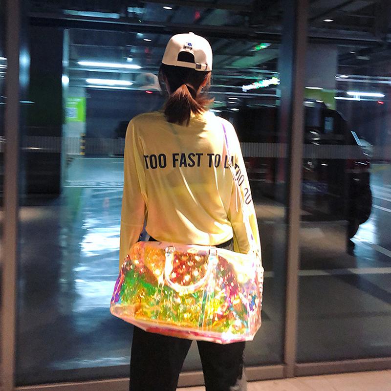 Créateur de mode Célèbre Marque Transparent PVC Brillant lumineux Sacs Sacs À Main Femmes Voyage Sport Sacs À Bandoulière