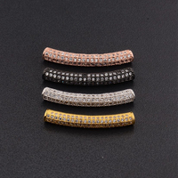 High Quality Micro Pave Cubic Zirconia CZ Curved Tube Spacer Bead Fit DIY Jewelry Making (MPB070)
