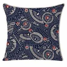 45*45 см печатные с геометрическим узором Чехлы для подушек льняная наволочка Складной вентилятор цветочная декоративная подушка для автомо...(China)