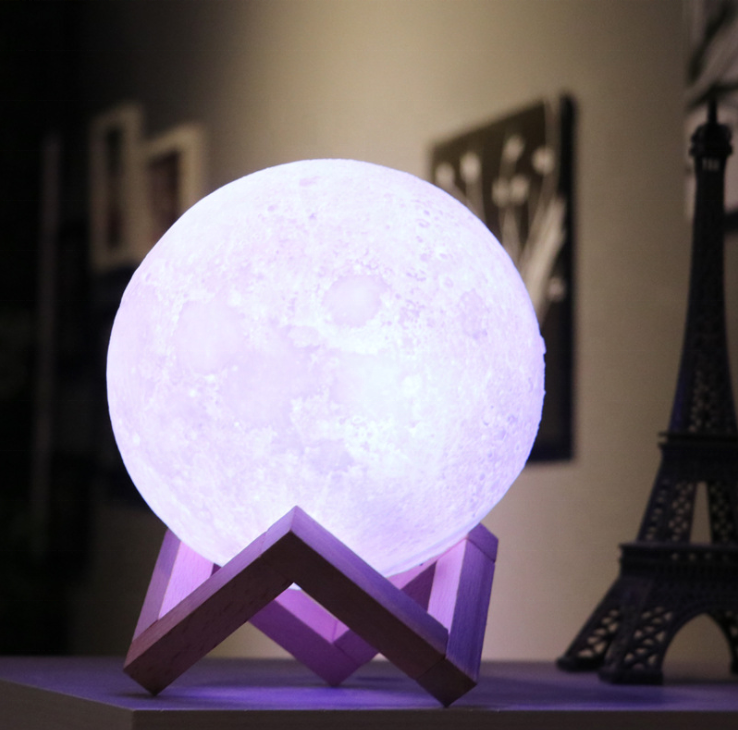 18cm 2 colors  plastic Moon  lamp  Wooden Stand 3D Night Light USB Rechargeable
