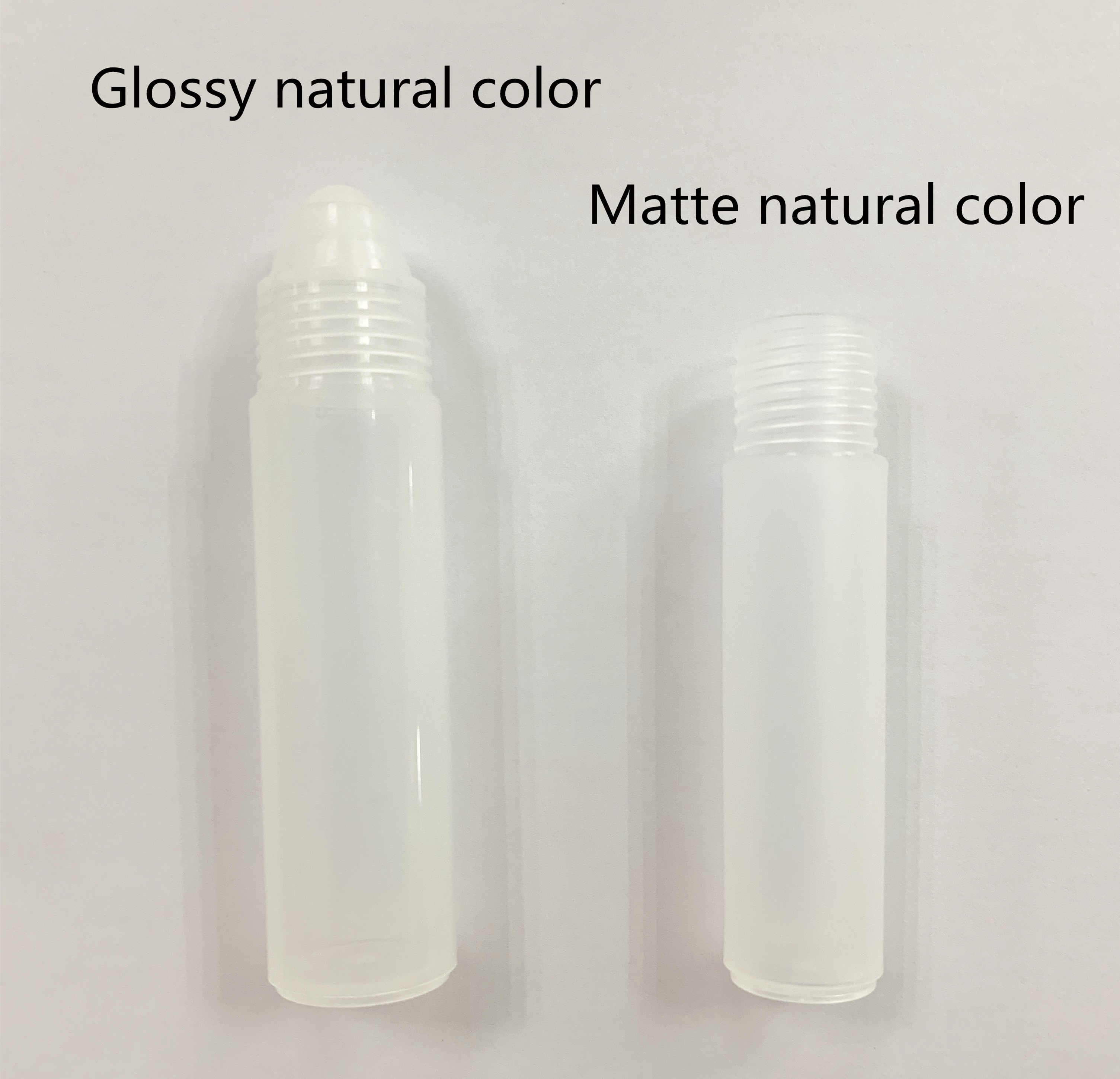 SRS empty natural color plastic deodorant roll on bottle and acrylic jar
