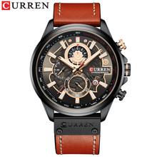 Часы CURREN Мужские, модные, кварцевые, с кожаным ремешком, спортивные, кварцевые, наручные, с секундомером(Китай)