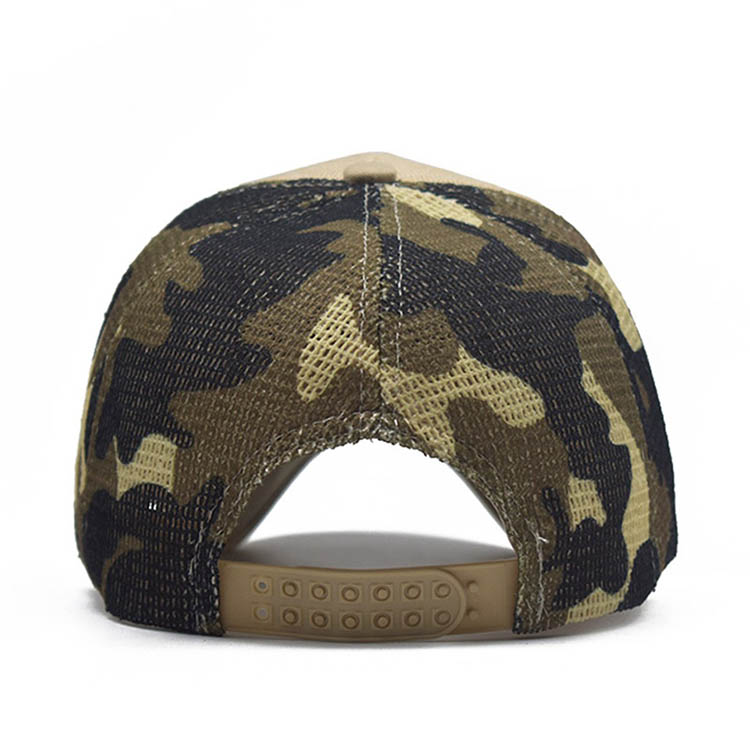 new hip-hop camouflage distressed cotton sport baseball cap custom logo cheap adjustable baseball cap with rock embroidery print