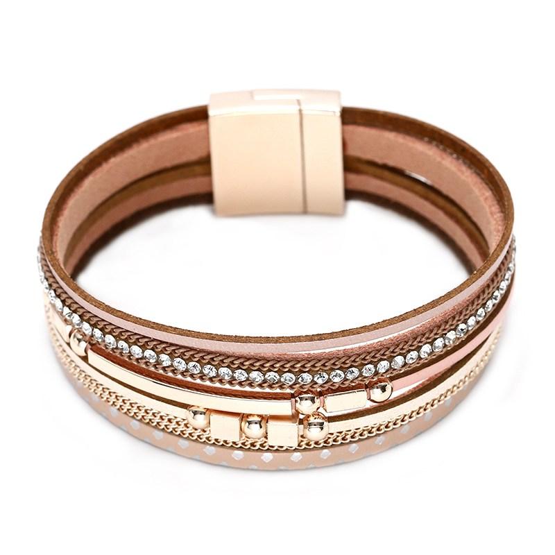 Tali Kepang Fashion Cord Wrap PU Kulit Gelang Femme Wanita Disesuaikan Gesper Magnetik Lucky Knot Kulit Asli Gelang