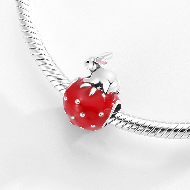 Real 925 sterling silver Super Cute Rabbit and Strawberry Enamel Red Beads Charms for Bracelets jewelry Girls gifts Wholesale