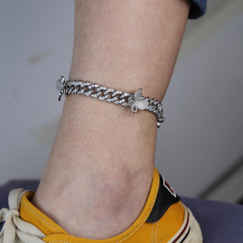 2020 Women men hip hop BUTTERFLY charm Foot Jewelry Anklet Bracelet For Women Cuban Link Chain leg Anklet Bracelet jewelry
