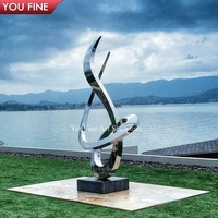 Modern Outdoor Decoration Large Abstract Stainless Steel Sculpture For Garden