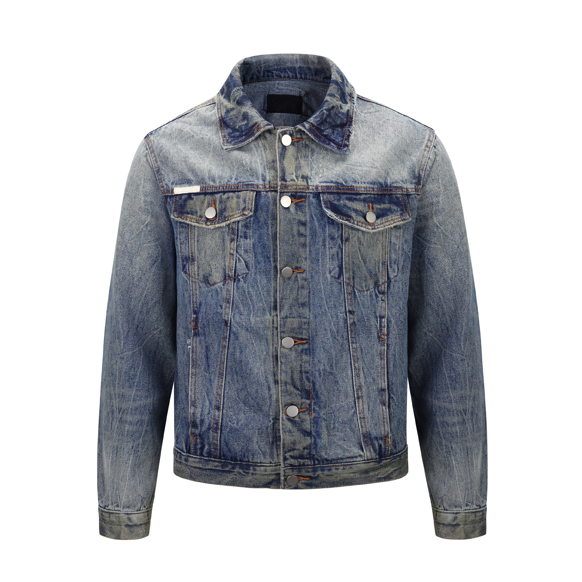OEM private label men custom stock dropshipping blue distressed mens denim jacket