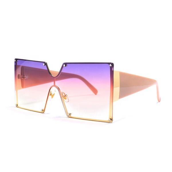 Wholesale oversize vintage square glasses colorful UV400 for shade women sunglasses