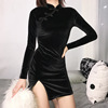 Taobao modern sexy womens fall clothing short black chinese cheongsam qipao dress
