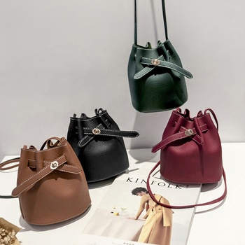 New Designer lady Handbags PU Small Shoulder Crossbody Bag Fashion leather bucket bag women