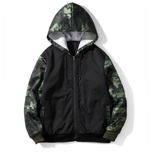 Mannen Custom Logo Camouflage Mouw Pluche <span class=keywords><strong>Rits</strong></span> Sport Jas Sweatshirts Fashion Hoodies