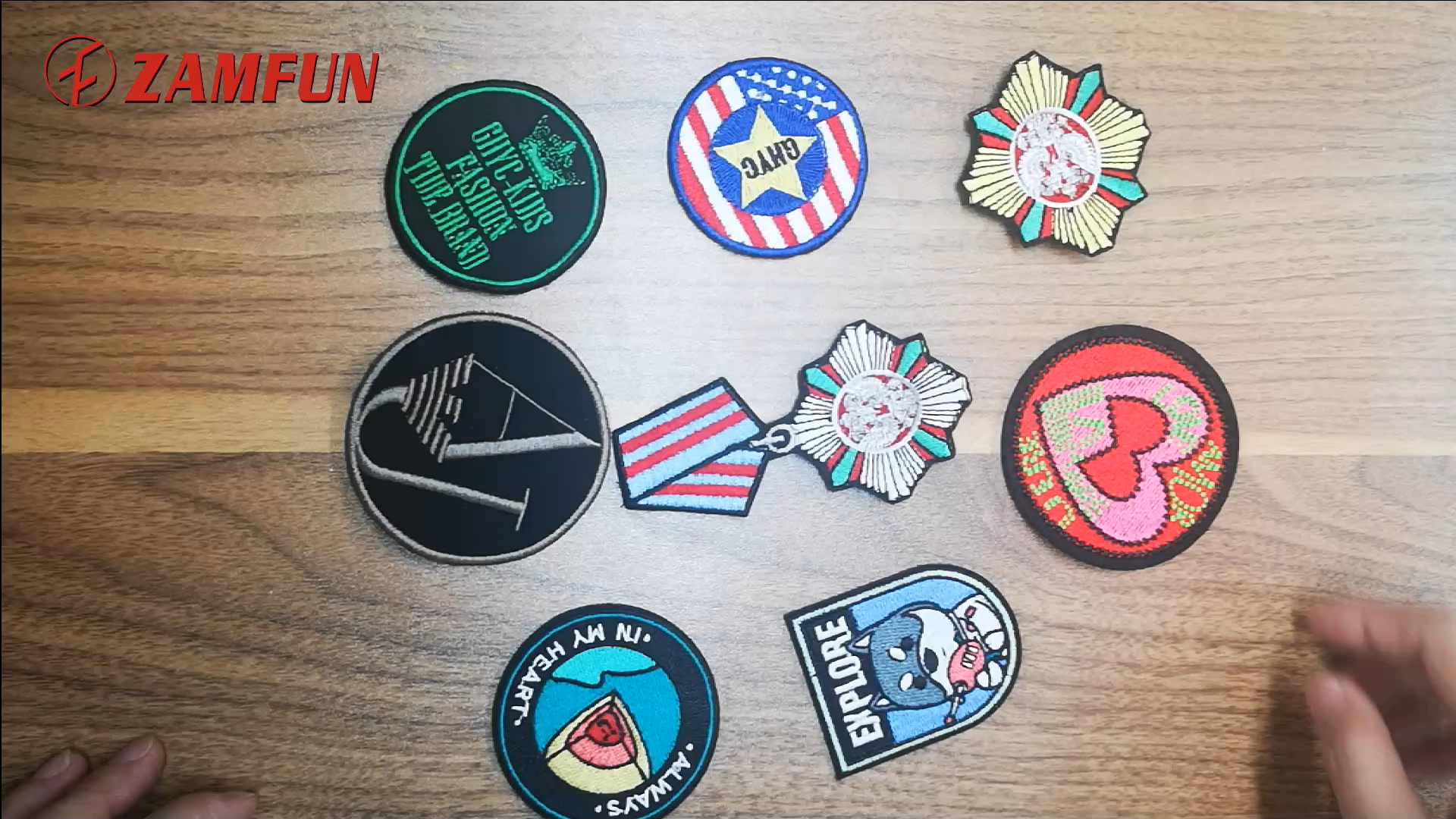 2020 ZAMFUN Embroidered Service Custom  Logo 100% Machine Embroidery Patches and Badges with Iron on