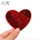 OEM custom embroidery sequined heart beaded patch applique love sequin patches for clothes