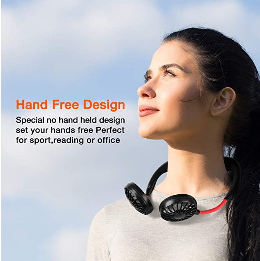 Lazy hand free cooling neckband fan personal mini electric neck band hanging neck sports fan