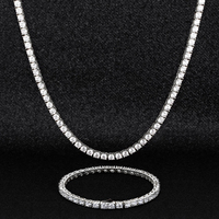 KRKC Silver White Rose Gold Plated Iced Out CZ Chain Jewelry Tennis Choker Necklace Mens Hip Hop Diamond Tennis Chain for Women