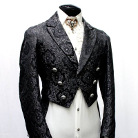 Tailor black printing Goth punk Aristocrat style tail coat jacket