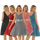 Ladies Women Elegant Chiffon Boho Beaded Shining Crystal Bridesmaid Short Dresses Plus Size