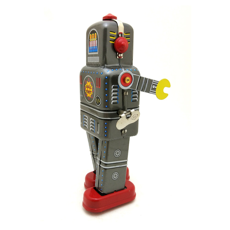 Wind Up Tin Toy Mechanical Walking Space Man Decoration Bar