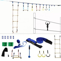 56Ft Outdoor Backyard Monkey Bar Children Slackline Hanging Obstacle Course Kit for Family Play Together