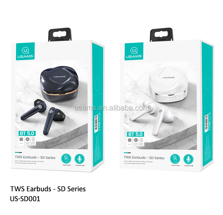 USAMS SD Series Amazon Top Seller Wireless Earphone headphone BT5.0 TWS Earbuds Earphone