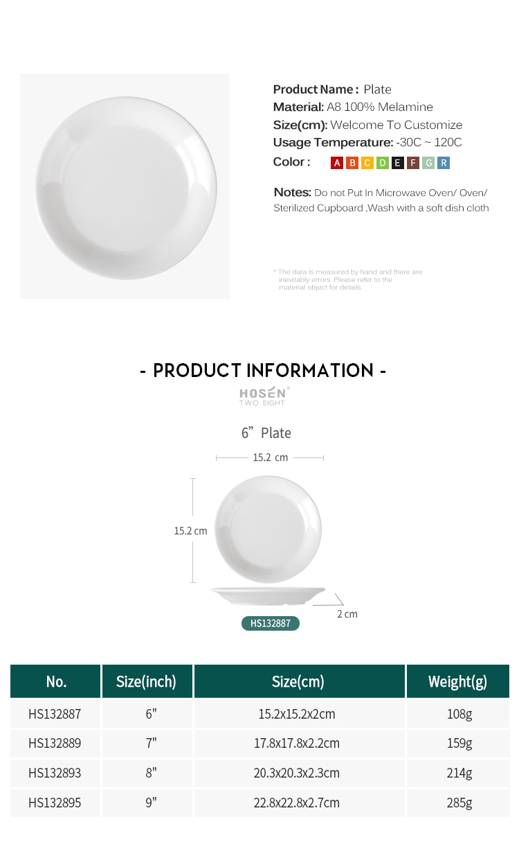 Unbreakable 100% Melamine Deep Soup Plates, Plastic White Round Dishes Sets
