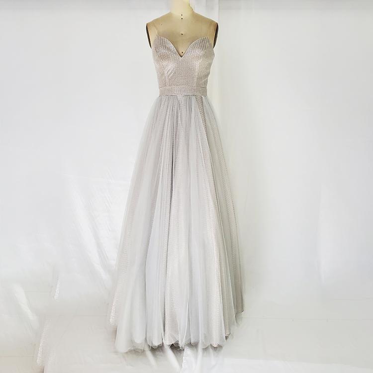 Venta al por mayor escote gris elegante vestidos de baile de noche