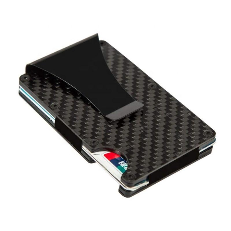 Бумажник rfid из углеродного волокна с зажимом для денег, 2019