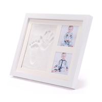 Custom wholesale 12 month high quality baby handprint and footprint frame with baby photo frame clay