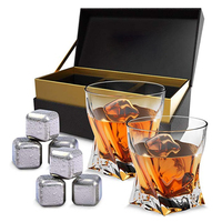 Twist Whiskey Crystal Glass With Stainless Steel Whiskey Stones Chilling Rocks Gift Set