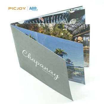 High quality saddle stitch binding booklet with full UV spot