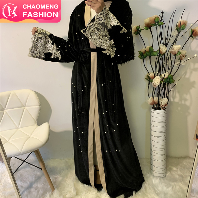 1593# Hot sale latest winter elegant open abaya with lace modest design kaftan for moslim women islamic clothing, Balck