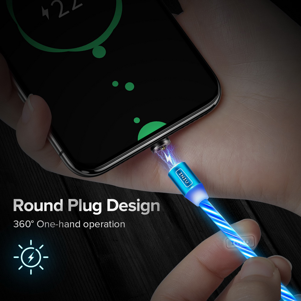 INUI Magnetic LED Light Cable Fast Charging Magnet Micro USB Type C Cable LED Wire Cord Charger For Iphone for Samsung