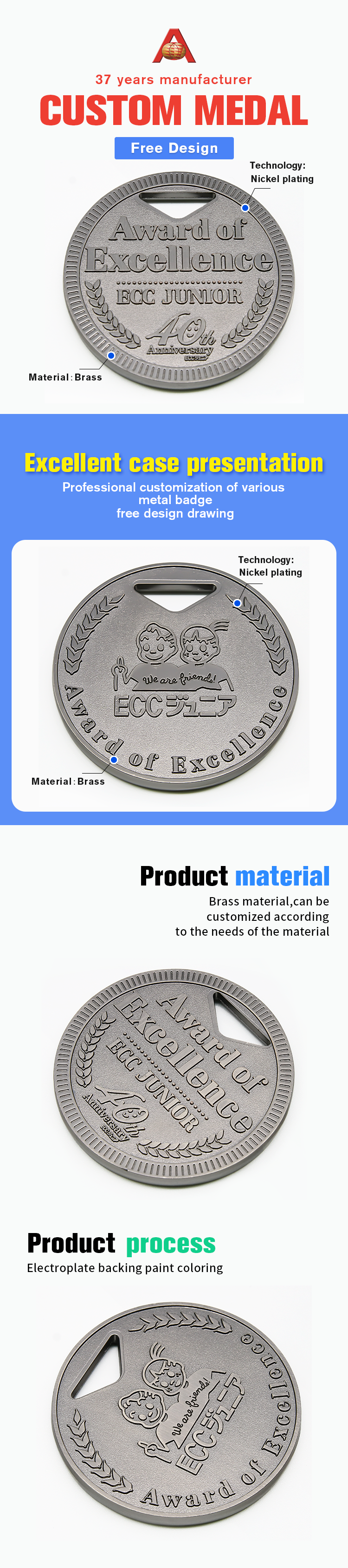 Hot Sale 3D Award Design Metal Custom Blank Medal
