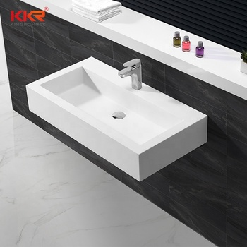 Resin Stone Long Narrow Bathroom Sink With Two Faucets