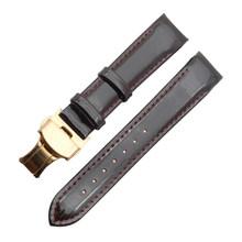 Ремешок для часов из натуральной кожи, 18 мм, блестящая лакированная кожа, пряжка-бабочка, для женщин, новейший Шарм, ремешок для часов tissot T035(China)