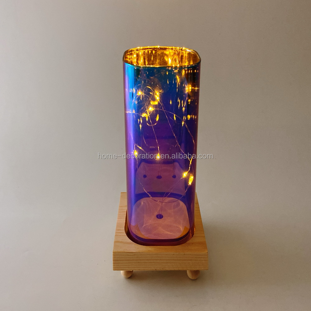 wholesale laser painting led square glass containers vase for decorations