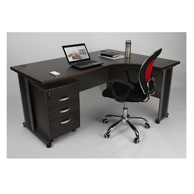 L Shaped Metal Legs Mfc Office Desk Executive Furniture Modern Table Design Luxury