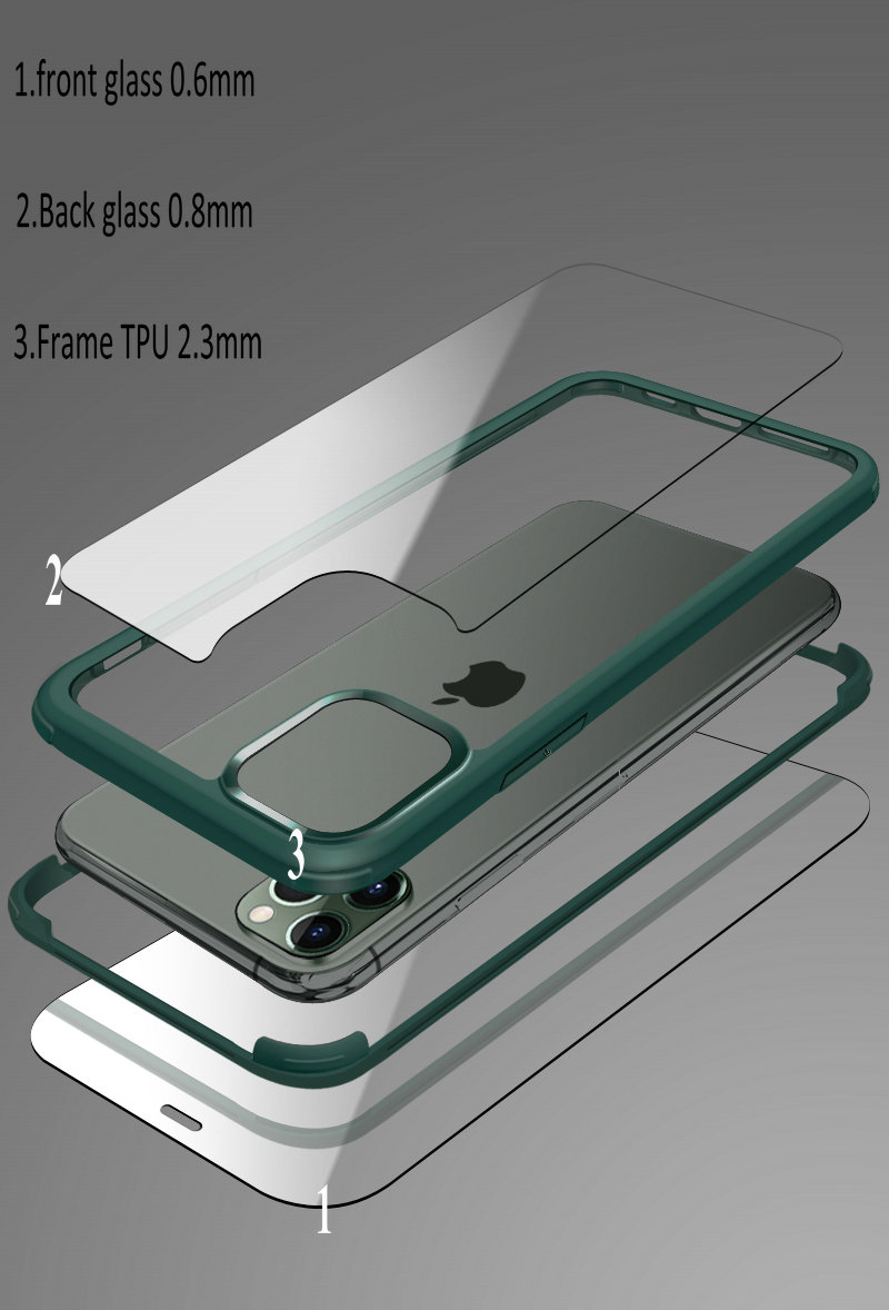 360 Degree Full Protective Tempered Glass Back Cover Case  Phone Case for iPhone 11/11pro/11pro max