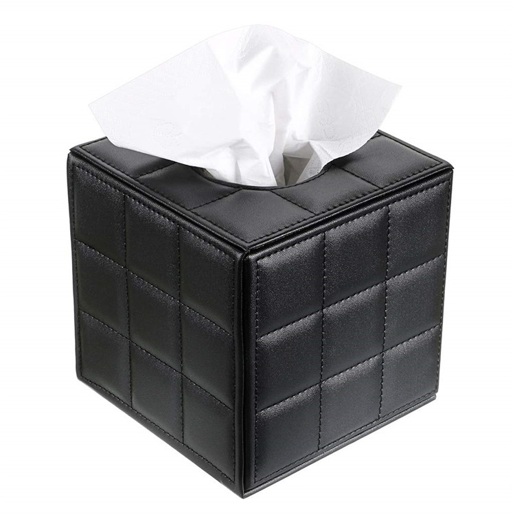Home Office Car Decor PU Leather Tissue Paper Box Cover Holder Case Black